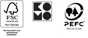 Logo's van PEFC, KOMO em en FSC