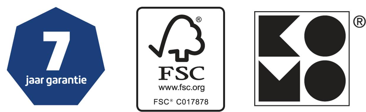 7 jaar garantie - FSC keurmerk - KOMO keurmerk